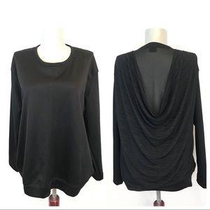 Zara •  Black Draped Long Sleeve Blouse